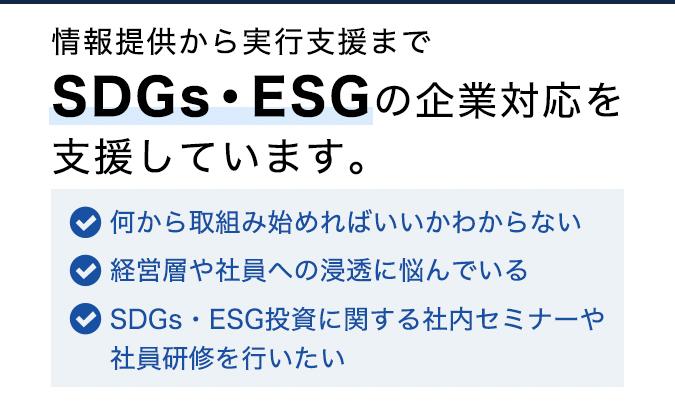 情報提供から実行支援までSDGs・ESGの企業対応を支援しています。